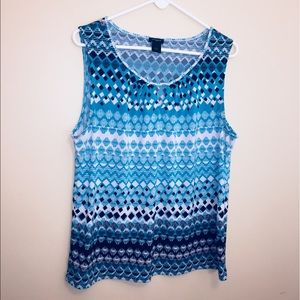 Ann Taylor blue patterned tank top